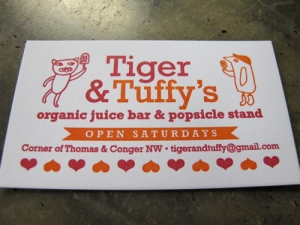 Tiger & Tuffy's business card
