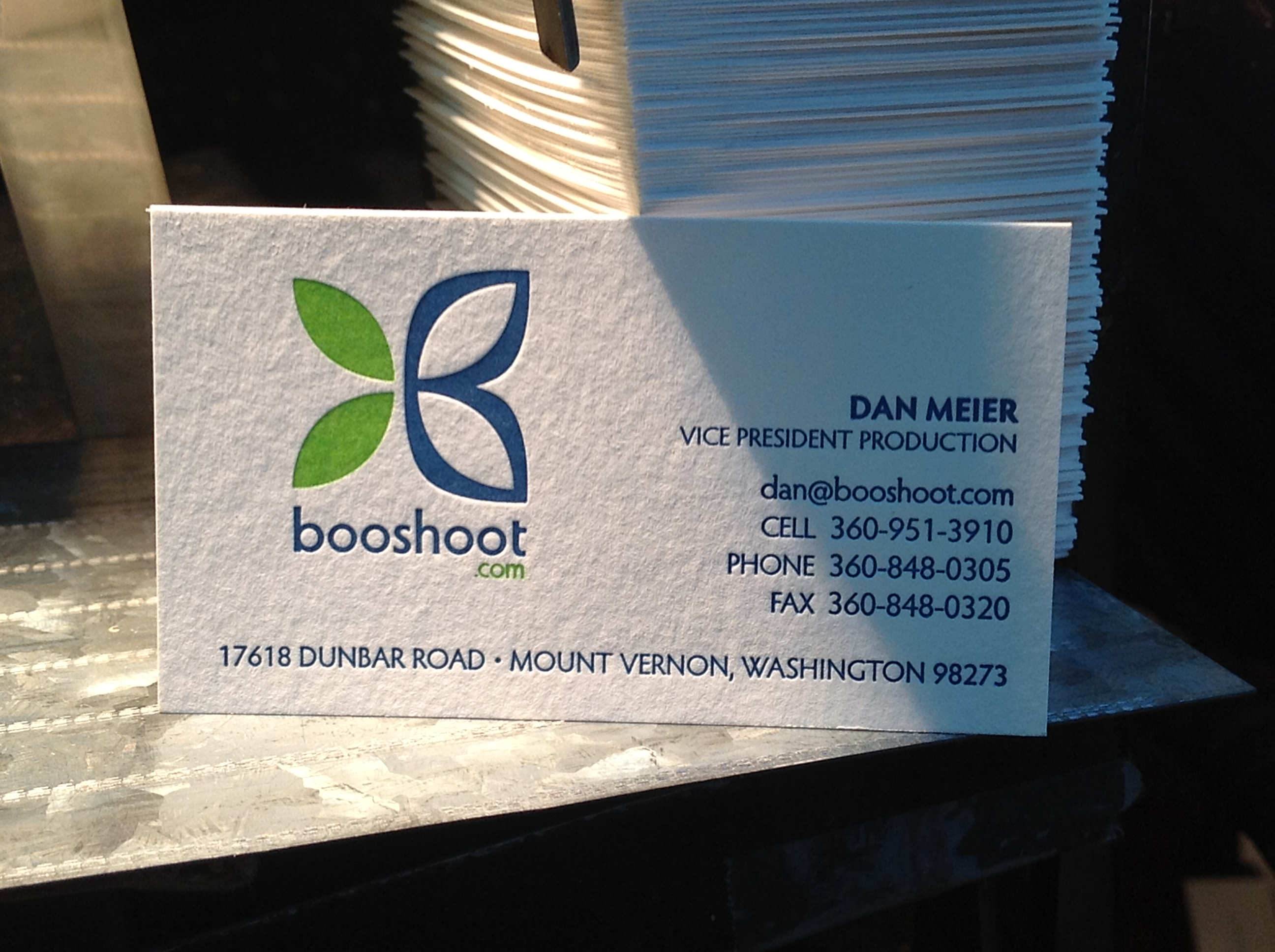 Booshoot business cards