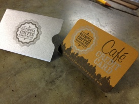 Café Credit Cards for the Olympia Coffee Roasting Co. Silver ink and envelopes provides a nice touch.