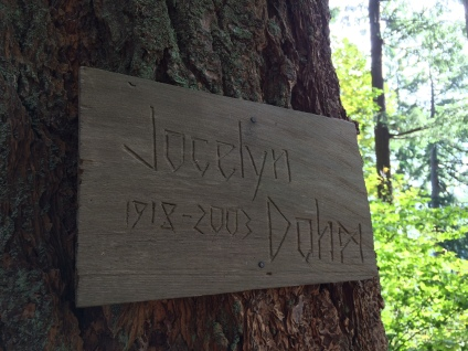 I carved this little sign for Jocelyn's Memorial garden installed the spring after her death.